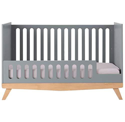 Meubletmoi Matelot 9484 - Cuna de bebé evolutiva (madera, 70 x 140 cm), color gris