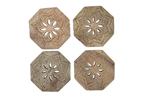 Mela Artisans Rustic Coasters for Drinks, Set of 4 – Wooden Coasters for Wine Glass, Coffee Cup, Soft Drinks, Water, or Beer - Decorative Wood Coasters in Natural Finish - Mango Wood