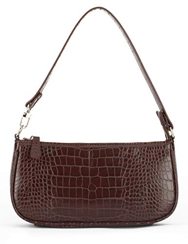CHIC RETRO STYLE: Inspired by '90s styles, underarm bag with crocodile effect pattern is the latest style in this season, the IBIZA VIBE Faux leather crocodile texture shoulder bag decorated with silver-tone metal hardware gives the handbag a luxurio...