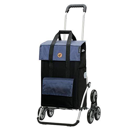Andersen Einkaufstrolley Royal als Treppensteiger Alu klappbar mit Rad Ø 3 x 13cm und 43 Liter Tasche Vektor mit Kühlfach blau