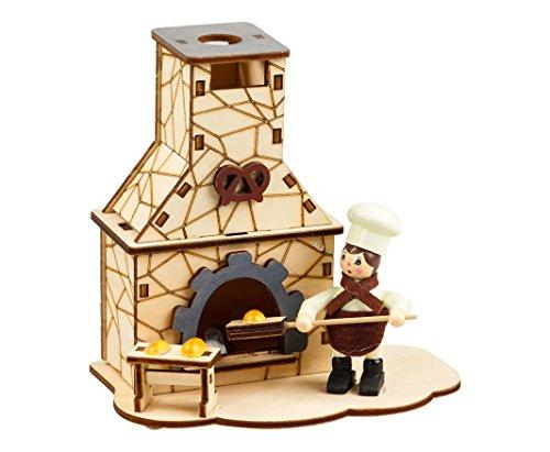 """Casa brucia incenso con camino tema """"fornaio"""", dimensioni ca. 15x 13x 10cm, in legno, decorazione per l'Avvento, regalo di Natale (93395)"""