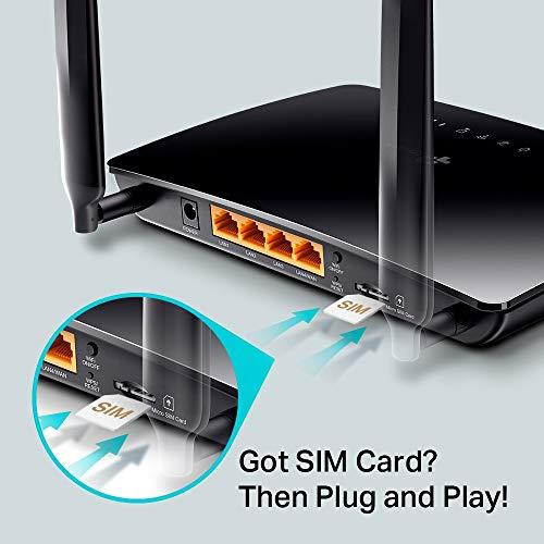 TP-Link Archer MR200 Cat4 + AC750 Mbps Dualband 4G LTE WLAN Router (150 Mbit/s im Download, simultanes Dualband, 300 Mbit/s 2,4GHz + 433 Mbit/s 5GHz, frei konfigurierbarer LAN/WAN-Port) schwarz