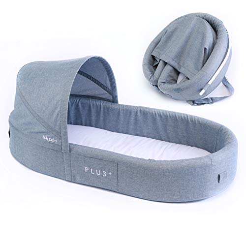 Learn More About Lulyboo Bassinet Plus+ Infant to Toddler Portable Travel Bed (Denim)