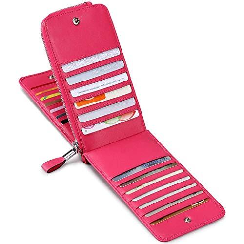 JEEBURYEE Women's Genuine Leather Multi Credit Card Holder Wallet RFID Blocking Long Bifold Clutch Wallet Ladies Purse with Zipper Pocket Rose Red