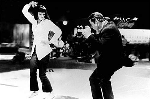 Malerei Leinwand Pulp Fiction Dance Twist Contest Poster Moderne Schwarz Und Weiß Vintage Movie Art Bild Gedruckt Geschenke Künstler Wohnkultur Kunstwerk für Wohnzimmer 60 x 80 cm (kein Rahmen)