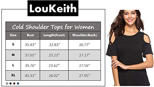 LouKeith Womens Short Sleeve T Shirt Round Neck Cotton Shirt Sexy Blouses Cold Shoulder Tops Tees RoyalBlue M