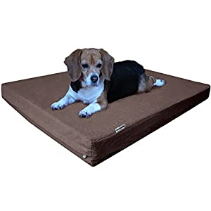 Dogbed4less Orthopedic Memory Foam Dog Bed with Durable Denim Cover, Waterproof Liner and Extra Pet Bed Case, Fit 42″X28″ Large Crate, Brown