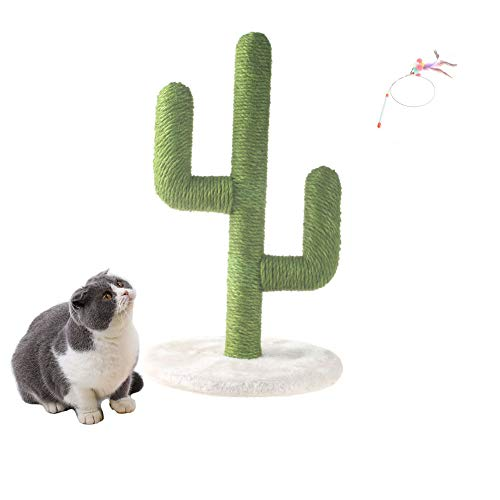 MOUOGO Tiragraffi per gatti Cactus con corda in sisal, verticale resistente, per gatti e gatti