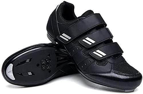 KUXUAN Zapatillas de Ciclismo para Hombre - Zapatillas de Carreras MTB Zapatillas de Carretera y Montaña para Deportes Al Aire Libre,Calzado Casual para Correr,Black-38EU