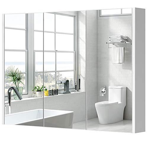 GIANTEX Spiegelschrank Bad, Hängeschrank Wandschrank mit 3 Türen, Badezimmerspiegel mit verstellbaren Ablagen, Badezimmerschrank Badschrank 90x11x65 cm, weiß