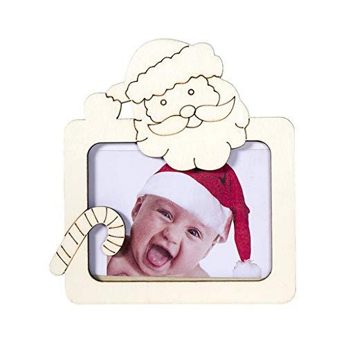 JFSFAS Bilderrahmen für Weihnachten-Fotorahmen aus Holz mit Klammern für 14x14cm Foto, Geschenke für Mama,ideal zum Basteln und dekorieren (B)
