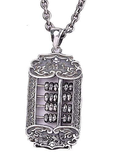 CHXISHOP Collar de plata S925 con colgante de ábaco deseado, el mejor regalo para niños pequeños, 60 cm