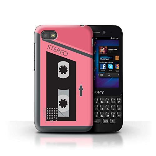 Stuff4 Hülle/Hülle für BlackBerry Q5 / Rosa/Grau Muster/Retro-Kassettenrecorder Kollektion