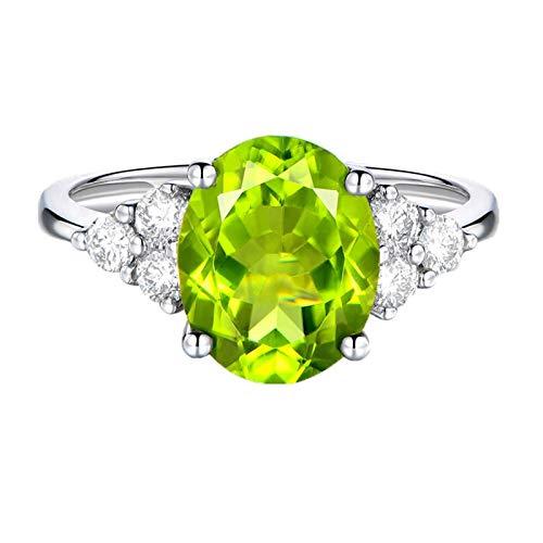 AnazoZ Anillo de Compromiso Mujer Plata Verde Anillos Mujer Oro Blanco 18K Anillo Natural Peridoto Verde Oval 2.25ct Diamante 0.15ct Talla 12