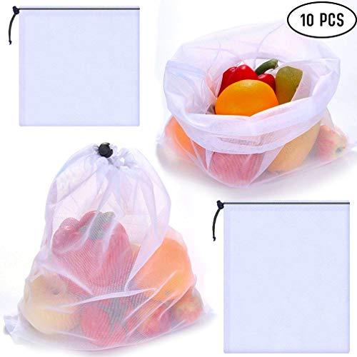 Wiederverwendbare Netzbeutel, 10 Stück, waschbar, robust, umweltfreundlich, für Lebensmitteleinkauf, Obst, Gemüse, Lebensmittel