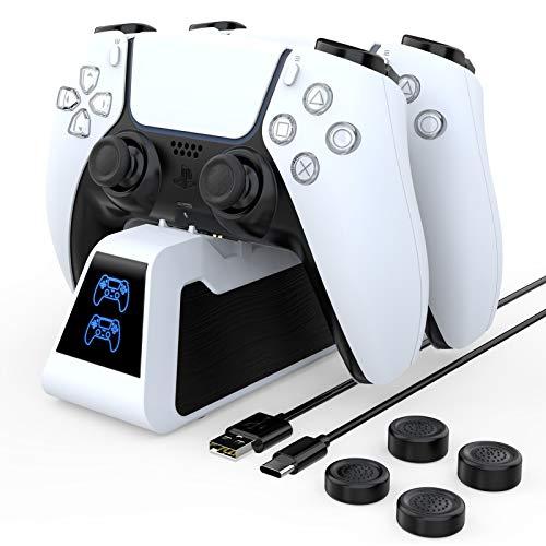 HEYSTOP PS5 Cargador Mandos, 2.6A Carga Rápida Soporte Mando PS5 Estación de Carga Rápida Double USB con LED Indicador, Base de Carga para Sony Playstation 5, con Cable USB