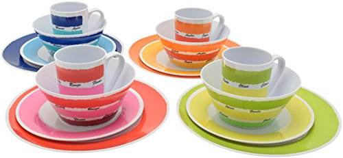 Flamefield 16-teilig Colour Works-Set aus Melamin, Mehrfarbig - 2