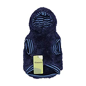 Fitwarm Fuzzy Thermal Dog Coats Winter Clothes Pet Jackets Hoodie Cat Sweatshirts Velvet Blue Large