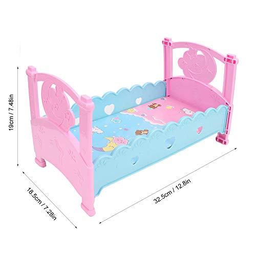 Lairun Spielhausspielzeug Schönes Puppenbett für Puppenhausmöbeldekoration