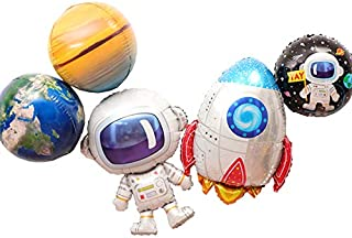 5Pcs Cute Large Size Outer Space Cartoon Balloons Astronaut Balloons Rocket Balloons for Kids Planet Themed Party Supplies Baby Shower Birthday Party。 (Colorful)