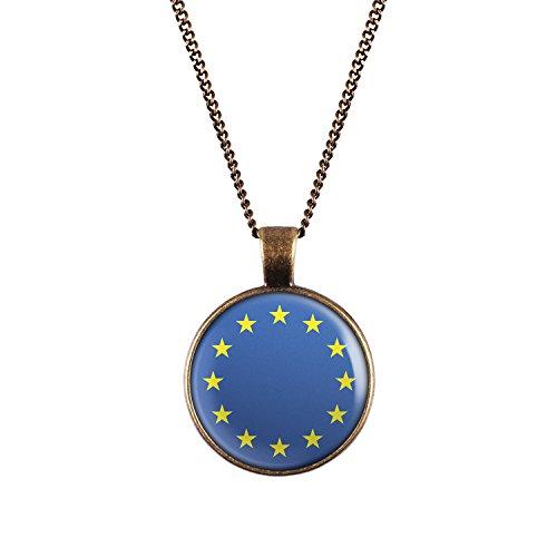 WeAreAwesome Europa Flagge Halskette - EU Länderkette Euro mit Fahne Anhänger Unisex Kette