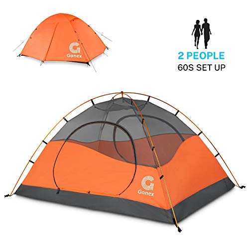 Gonex Camping Tent 2 Person, Waterproof Windproof Dome Backpacking Tent for Camping Hiking Mountaineering Backyard, Orange