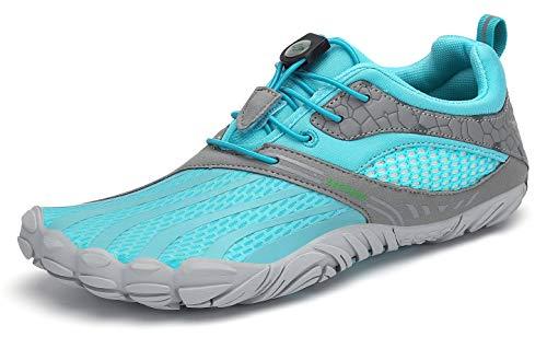 SAGUARO Hombre Mujer Zapatos Minimalistas Comodas Respirable Zapatillas de Trail Running Ligeras Calzado Barefoot Antideslizante para Gimnasio Fitness Senderismo Montaña, Cielo Azul 39 EU