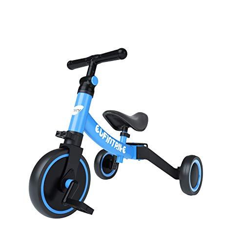 besrey 5 in 1 Laufräder Laufrad Kinderdreirad Dreirad Lauffahrrad Lauflernhilfe für Kinder ab 1 Jahre bis 4 Jahren - Blau