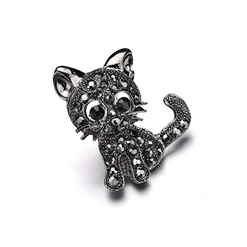 GAONAN Black Boutique Crystal Brooches Pins Christmas Wedding Gift for Women(cat) Brooch decoration