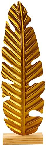 Lifestyle & More Escultura Moderna Figura Decorativa Hoja Dorada Fabricada en Metal y sobre Base de Madera 16x53 cm
