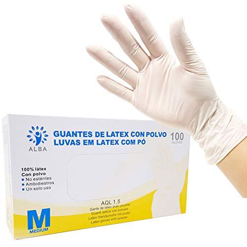 Guantes de Látex con Polvo 100 Unidades- Talla M - AQL 1.5 Guantes Desechables Ambidiestros Reciclables. Ideales para Uso de Alimentos, Limpieza, Bricolaje, Belleza, Industrial y Sanitario.