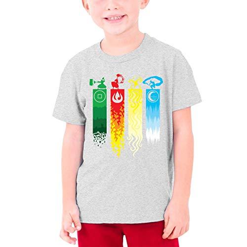 Jugend Graphic T-Shirts Teenager Jungen Mädchen T-Shirt Avatar-The Last Legend Airbender-of-Korra-Aang T Shirt Tees Gr. L, grau