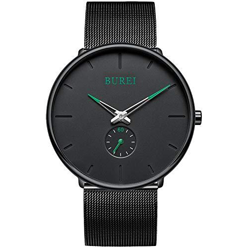 BUREI Herrenuhr Einfach ultradünn Schwarz Large Face Analog Unisex Quarz Armbanduhr Grüne-Zeiger mit schwarzem Edelstahl Band