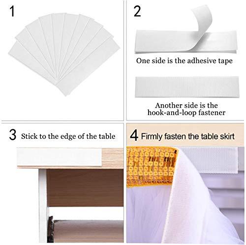 HBBMAGIC 3 Capas de Malla mullida Tabla de tutú Falda de vajilla de Tul para la Fiesta de Bodas de cumpleaños Decoración para el hogar (275cmx76cm, Blanco - Oro)