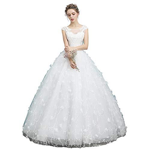 Huwelijksjurk, ronde hals + grote staart + lange doorsnede + kant apparaat + polyester stof, slim, geschikt voor elk huidtype (wit)