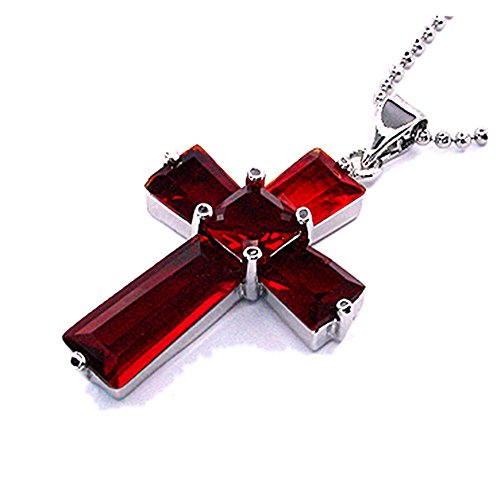 RIZILIA Cross Pendant with 18' Chain & Trapezoid Square Cut CZ [Simulated Red Ruby] in White Gold Plated, Simple Modern Elegant