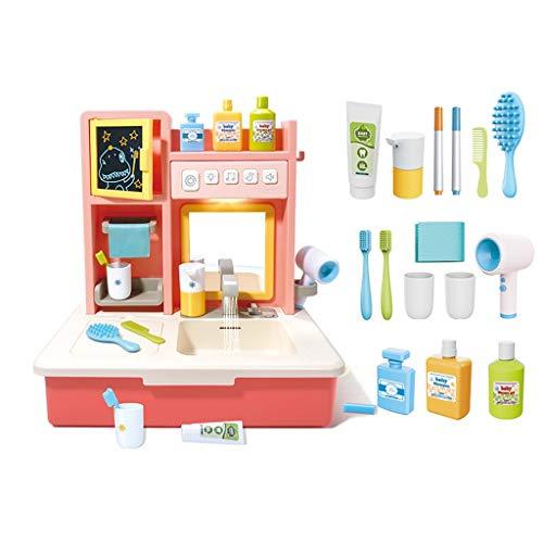 LHY - Juego de juguetes de cocina Happy Little Chef pretende jugar con juguetes, juego de cocina, juguete de agua circulante, juguete de tocador, accesorios de juguete de moda