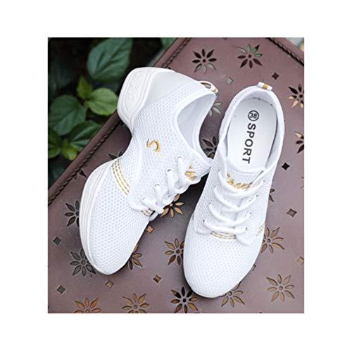 HaoLin Zapatillas de Deporte Zapatillas de Deporte con Cordones Suela Dividida Zapatos de Práctica de Baile de Jazz,White-34 EU