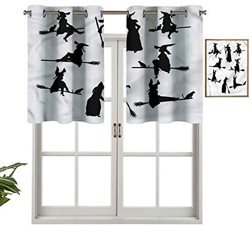 Hiiiman Cortinas cortas con bloqueo de luz, siluetas negras de mujer, juego de 1, 127 x 45 cm, cortinas para ventana para sala de estar