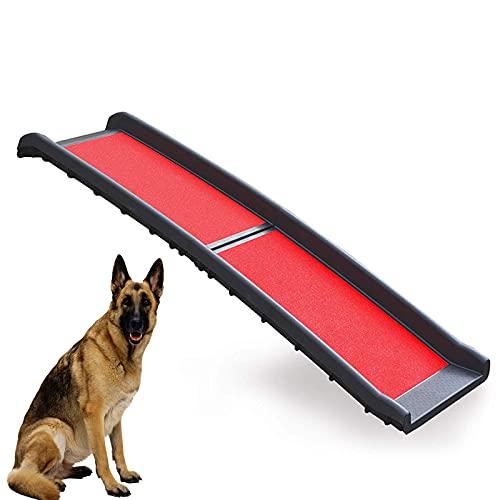 Rampa Plegable De Lujo para Mascotas, Material De Aleación De Aluminio Respetuoso con El Medio Ambiente, Escalera De Escalada para Perros Grandes Antideslizante, Puede Cargar 80 Kg,Rojo