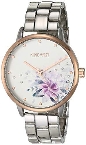 Nine West - Reloj de pulsera para mujer con detalles de vidrio, NW/2461FLRT, Plateado/Oro rosa