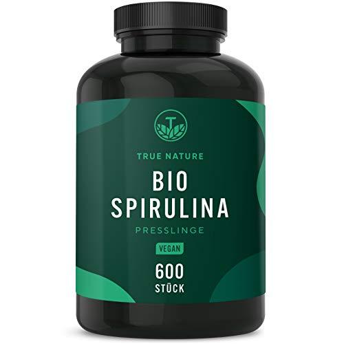 TRUE NATURE® Bio Spirulina Presslinge - 600 Tabletten je 500mg - 6.000mg Hochdosiert - 100% Reine Spirulina Algen aus kontrolliert biologischem Anbau - Vegan, Laborgeprüft, Hergestellt in Deutschland