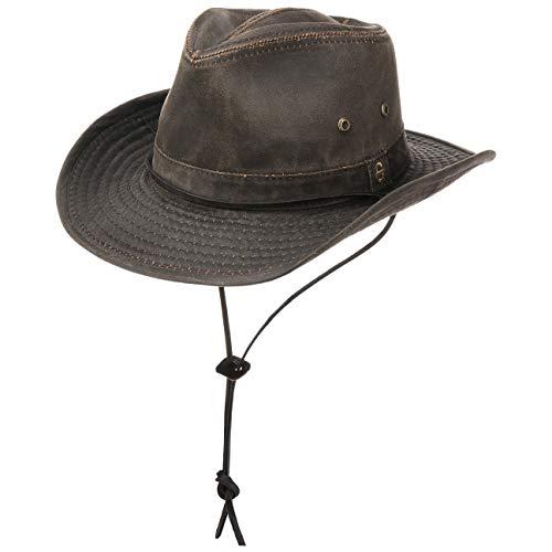 Stetson Sombrero Diaz Mujer/Hombre - de Vaquero Tela Look Vintage con Tira para el mentón, Ribete, Flecos...