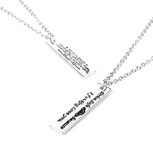WYFLL Les Colliers pour Femmes sont Sûrs À Conduire Parce Que Je t'aime Lettre Pendentif Collier Nouveau Bijoux Collier Personnalité Tendance Mignon