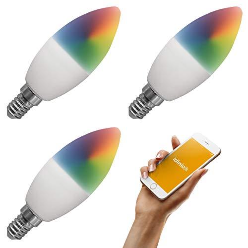 idinio® Smart RGB-Kerze 470 color, 3 Stück, E14, dimmbar per App, warmweiß + RGB, 5 Watt, WLAN, App für iOS und Android, Skill für Echo
