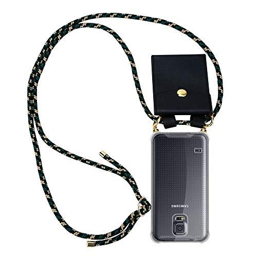 Cadorabo Handy Kette für Samsung Galaxy S5 / S5 NEO in Camouflage – Silikon Necklace Umhänge Hülle mit Gold Ringen, Kordel Band Schnur und abnehmbarem Etui – Schutzhülle