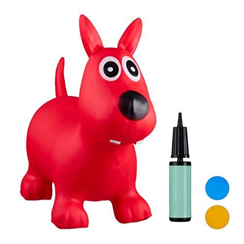 Relaxdays Hüpftier Hund, inklusive Luftpumpe, Hüpfhund bis 50 kg, Hopser BPA frei, für Kinder, Hüpfspielzeug, rot