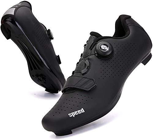 KUXUAN Zapatillas de Ciclismo para Mujer Hombre Carretera SPD Bike Zapatillas de Ciclismo Spin Shoestring con Compatible SPD Look Delta Cycle Riding Cleat Zapatillas Peloton,Black-3.5UK=(230mm)=36EU