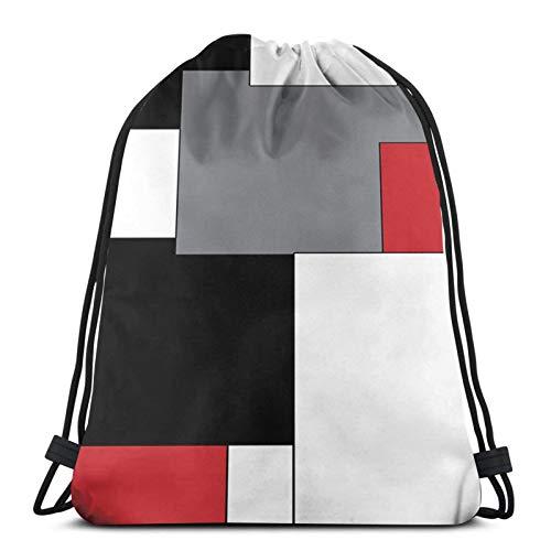 fenrris65 Mochila con cordón de terileno para hombre y mujer, color blanco, gris, negro y rojo