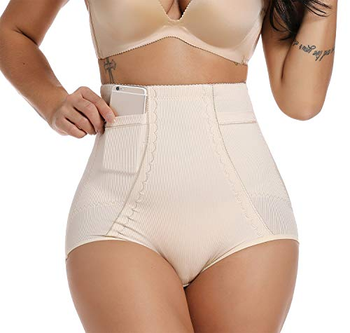 SURE YOU LIKE Miederhose, Damen Taille Shapewear Bauch Weg Body Shaper - Figurformender Miederpants, Miederslips Unterwäsche mit Taschen, Beige, Tag XXXL=Size EU (44-48)